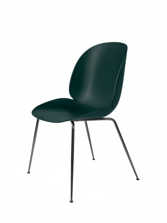 Beetle_DiningChair_Conic_Unupholstered_BlackChrome_Green_Front