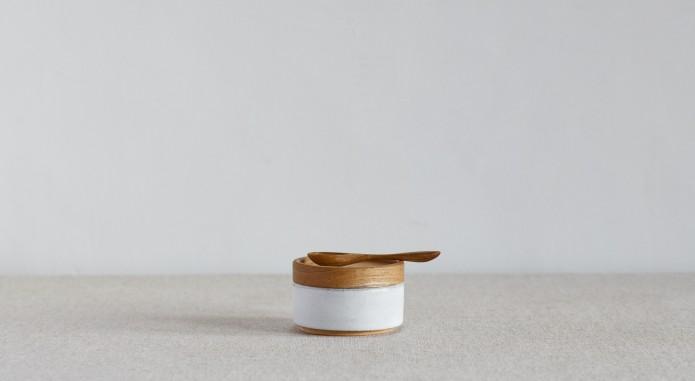 SALT _ PEPPER DISH - BRUSHED WHITE